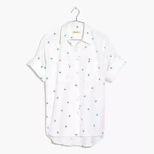 Madewell Palm Tree Print Cotton Courier Shirt L